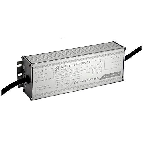 LED-Netzteil 100W Aluminium 24V, IP67, brummfrei, laststabil, Anschlusskabel 45cm ohne Stecker,5 Jahre Garantie