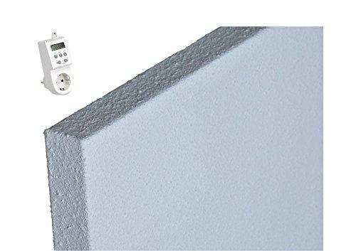 Infrarotheizung mit Thermostat ECOSUN E300 + IFTH1539 Infrarot Heizung 300 Watt Thermocrystal Beschichtung für bessere Abstrahlung Schutzklasse IP44 inkl. Halter für Wand und Decke und Thermostat Steckdose