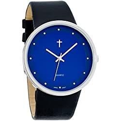 Belief Women's | Funky Minimalist Large Blue Face Black Band Watch with Cross Logo | BF9658BK