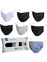 Mediweave Reusable 100% Cotton Cloth Face Mask with Non-Woven Filter Mix Color (Pack of 7, Color and Print may vary)