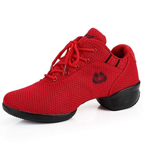 PENGFEI Schuhe Tanzschuhe Stiefeletten Frühling Und Sommer Flacher Boden Atmungsaktiv Weicher Boden Mesh Frauen Schuhe 3 Farben (Farbe : Red, größe : EU40/UK6.5/L:250mm) - Länge Frauen Flache Stiefel