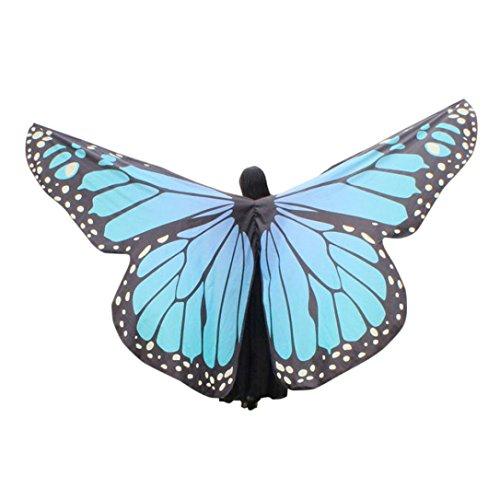 Overdose Frauen 197*125CM Weiche Gewebe Schmetterlings Flügel Schal feenhafte Damen Nymphe Pixie Kostüm Zusatz (260*150CM, F-Sky Blue) (Schmetterling Hund Kostüme)
