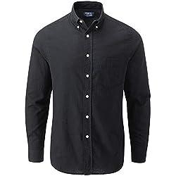 Charles Wilson Camisa Lino Manga Larga para Hombre (Large, Plain Black)