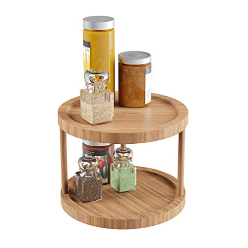 Lavish Home Classic Cuisine Lazy Susan - Natürliches Bambus-Drehteller, rund, Zwei Etagen, Küche, Speisekammer und Schminktisch Organizer und Display mit 25,4 cm Durchmesser -
