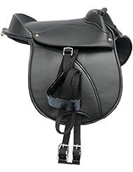 AMKA Amesbichler–Pony de Shetty Sillín Talla Pony   4teilig anpassbar Sillín para niños Completo con correa, estribos y sillín correa, también para caballos Madera.