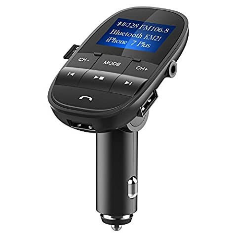 [Upgraded Version] Bluetooth FM Transmitter, Nulaxy Wireless FM Transmitter In-Car Adapter Hands Free Car Kit W USB Charger, 3.5 mm Audio Port ,1.44 inch display ,TF Slot For iPhone 8 8 Plus, iPad, iPod, HTC, HUAWEI,MP3, MP4 and Most Devices