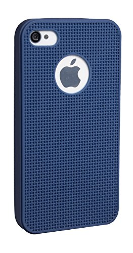 Xelcoy Grid Design Ultra Thin Soft Tpu Silicon Heat Dissipating Back Cover Case Skin for iPhone 4 4S 4G – Dark Blue