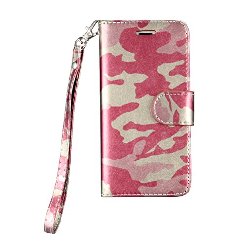 """iPhone 7/7s 4.7"""" Wallet Case,Heyqie(TM) Army Camouflage Premium Leather Folio Case Wallet and Kickstand Function Magnetic Closure Protective Shell Wallet Case Cover for Apple iPhone 7/7s 4.7"""" - Green Rose"""