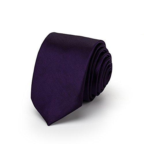 Rusty Bob Krawatte schmal/dünn 3cm-5cm für Herren [auch für Kinder/Jungen] (uni,nicht gestreift) aus Polyester glänzt wie Seide (Lila) (Krawatten Gestreift Lila)