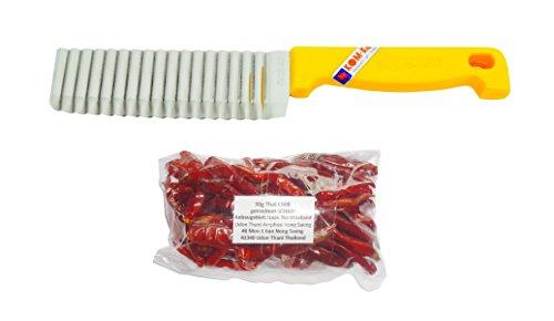 kiwiandkomkom Thai Buntmesser für Wellenschnitt + Gratis 30g Thai Chilli getrocknet aus Dem Isaan...