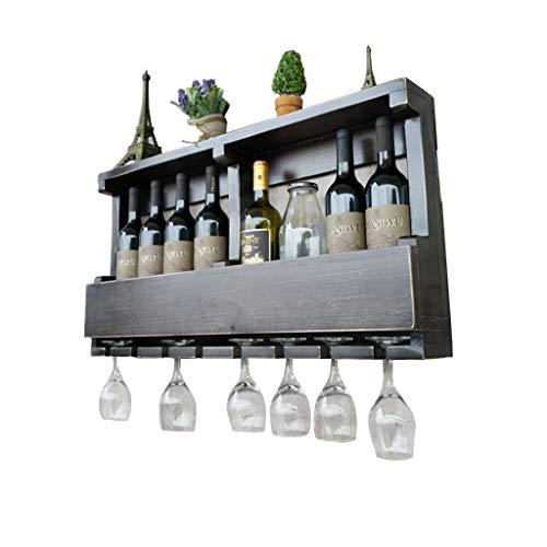 Weinständer Kelchhalter hängend Weinregale Wandhalterung Holz | Vintage Weinflaschenhalter Wandmontage | Rustikaler Weinhalter | Wandregal-Speicher-Organisator-Rack | Hängender Weinglashalter -
