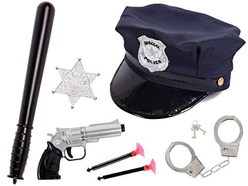 Alsino Kinder Polizei Set Verkleidung (Kv-72) Polizeimütze mit Schlagstock, Revolver, Stern & Handschellen