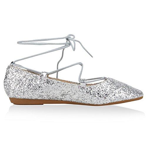 Ballerinas Glitzer Flats Damen Klassische Silber Schnürballerinas xfRqY650