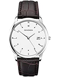 Sekonda Men's Quartz Watch with White Dial Analogue Display and Brown Leather Strap 1010.27