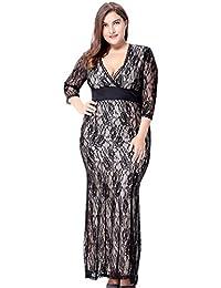 YiJee Mujer Maxi Vestido de Noche Ajustado Talla Grande Hueco Vestidos
