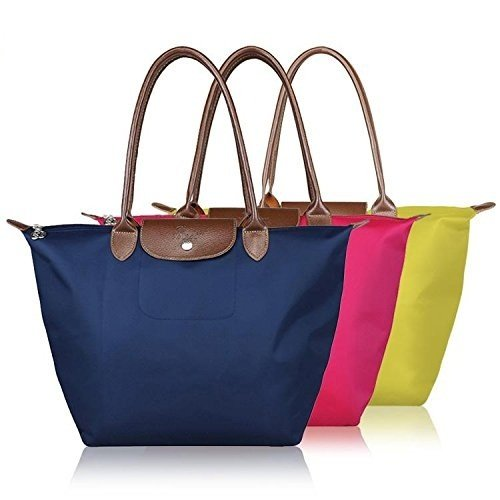 Waterproof Long Handle Nylon Foldable Shopping Handbag By Inovera