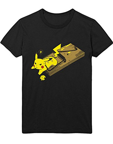 (T-Shirt Pokemon Go Pikachu Mousetrap Team Rocket Jessie James Mauzi Kanto 1996 Blue Version Pokeball Catch 'Em All Hype X Y Nintendo Blue Red Yellow Plus Hype Nerd Game C210010 Schwarz XXXL)