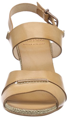 Fred de la Bretoniere - Fred Double Front Strap Rope Sandalet 9.5cm Heel Leather Sole Lloret, Sandali Donna Marrone (Braun (Desert))
