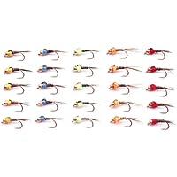Lakeland Fishing Supplies (Set M2) 25 Moscas de Pesca con Cabeza de Oro para Pesca de Trucha, 10