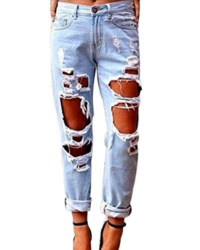 Jeans boyfriend larghi donna strappati denim pantaloni elasticizzati taglia grossa azzurro chiaro s