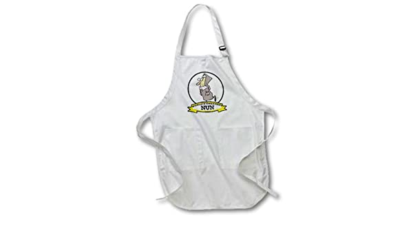 22 by 24-Inch 3dRose apr/_103393/_2 Funny Worlds Greatest Nun Cartoon-Medium Length Apron with Pouch Pockets