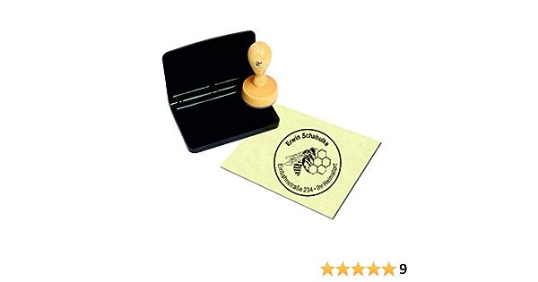 /Ø 40 mm Einh/örner Stempel mit schwarzem Kissen Adressstempel /« EINHORN /» Durchmesser ca mit pers/önlicher Adresse und Motiv
