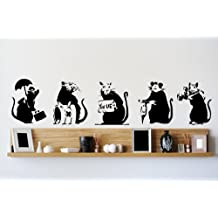 Banksy Collection of RATS x 5 Graffiti Art / Large Vinyl Wall Stickers by Broomsticker