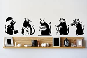Banksy Collection of RATS x 5 Graffiti Art / Large Vinyl Wall Stickers
