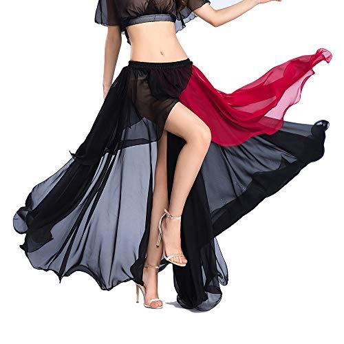 ROYAL SMEELA Bauchtanz Rock Damen Tanzkleidung Chiffon Röcke Fashion Light Sexy Großer Swing-Rock Bauchtanz Performance Kostüm Kleidungsstück Röcke mit hoher ()