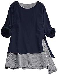 79e3ac7b994f0 Overdose Blusa Donna Elegante Manica Lunga Camicetta Donna Elegante Taglie  Forti Maglietta Elegante Sexy Casual Tops