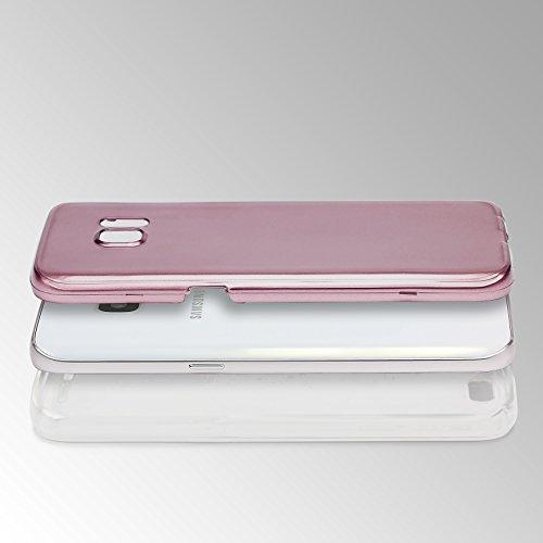 Urcover® Metalloptik Ultra Slim 360 Grad Edition | Apple iPhone 6 / 6s | TPU in Blau | Zubehör Tasche Case Handy-Cover Schutz-Hülle Schale Rose Gold