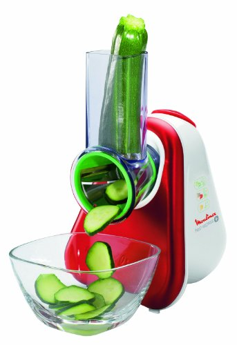 Moulinex DJ756G Fresh Express Plus - Rallador eléctrico, color rojo y blanco