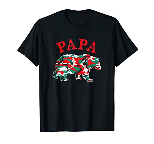 Christmas Camo Papa Bear Matching Camouflage Pajama Family T-Shirt (Camouflage T-shirt Woodland Kids)