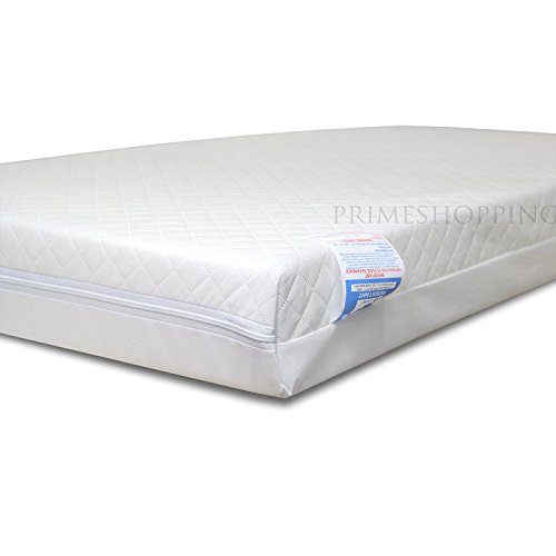 Baby Cot Toddler Junior Bed Cot Bed Cotbed Sprung Spring Core Mattress With Quilted Cover (118 x 56 x 13 cm)