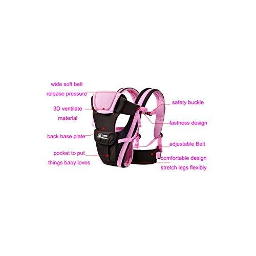 Vine Adjustable 4 Positions Baby Carrier 3D Backpack Pouch Bag Infant Wrap Soft Structured Ergonomic Sling Front Back Pink  Vine Trading Co.,Ltd