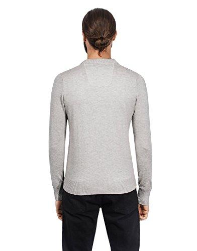 Vincenzo Boretti Herren-Pullover V-Ausschnitt slim-fit tailliert Strick-Pullover V-Neck einfarbig Baumwolle-Mix edel elegant leicht Fein-Strick für Business oder Casual Grau