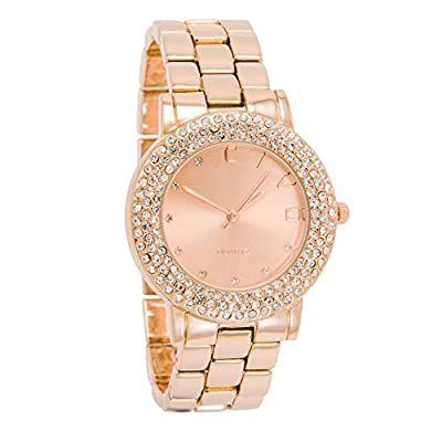 CIVO Women's Rose Golden Stainless Steel Band Wrist Watch Lady Simple Design Classic Fashion Business Casual Dress Bracelet Watches Analogue Quartz Wristwatch with Band Link Remover Bonus
