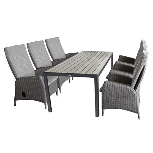 7tlg. Gartengarnitur Aluminium Gartentisch Polywood-Tischplatte 205x90cm + 6x Gartensessel...