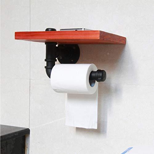 WJX Soporte de Papel higiénico para el baño, toallero de Agua Industrial para Colgar en la Pared, toallero de Papel, dispensador de Rollo de Tejido con Estante de Almacenamiento para teléfono móvil