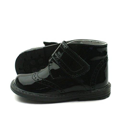 SB163 Studio BIMBI Brogue Bootee w/velcro strap High Back for Boys/Girls >      > bottes hautes Brogue avec sangle velcro pour Garçons / Filles Black (noir)