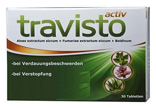 Travisto aktiv, rein pflanzlich, doppelte Wirkung: Aloe ferox Abführmittel; Erdrauch, Boldinum, entkrampft, regt Verdauung, Gallenfluss an; bei Obstipation, Verstopfung, fehlender Entleerung, 30 Tabl.