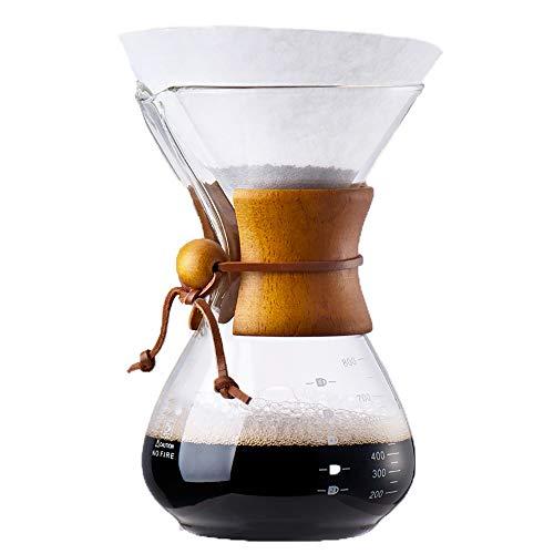 BILLY'S HOME Pour Over Coffee Maker, Glas-Kaffeekanne, Hochborosilikat-Glas Hochborosilikat resistenten Kaffee-Sharing-Topf geeignet für zu Hause und im Büro verwenden 800ml