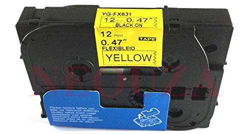 Compatible for Brother P-touch TZe Tz Black on Yellow label tape 6mm 9mm 12mm 18mm 24mm 36mm all size TZe-Fx631 Flexible Nero/giallo