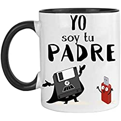 FUNNY CUP Taza Dia del Padre. Yo Soy tu Padre. Regalo Divertido de Star Wars. Frikis papás. (Negro)