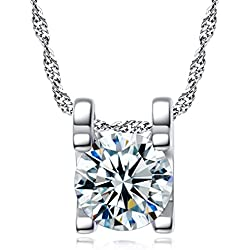 Swarovski Sterling Silver Solitaire American Diamond Fashionable Pendant Necklace for Girls & Women with Chain by DC Jewels