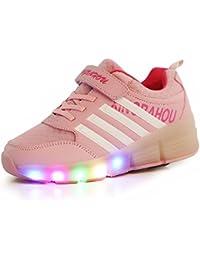 Unisex Niños llevó ruedas rodillo skate zapatos Retráctil zapatillas deportivas al aire libre parpadeante intermitentes Cumpleaños Halloween Regalo de Navidad para niñas
