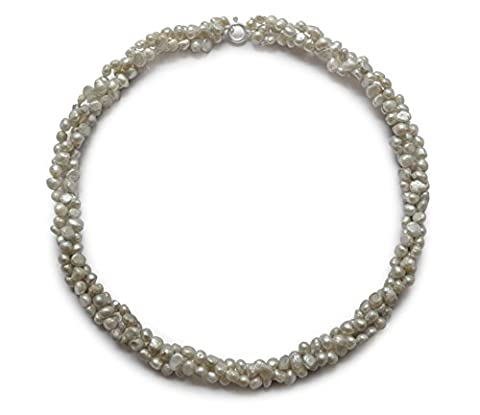 Cultured freshwater pearl necklace, grey, potato, 4-5mm, 925 silver