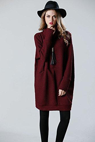 Donna vintage sciolto dolcevita cappotto maniche lunghe maglia maglione pullover abito maxi design del 2017 vestiti donna manica lunga Maglioni Vino rosso