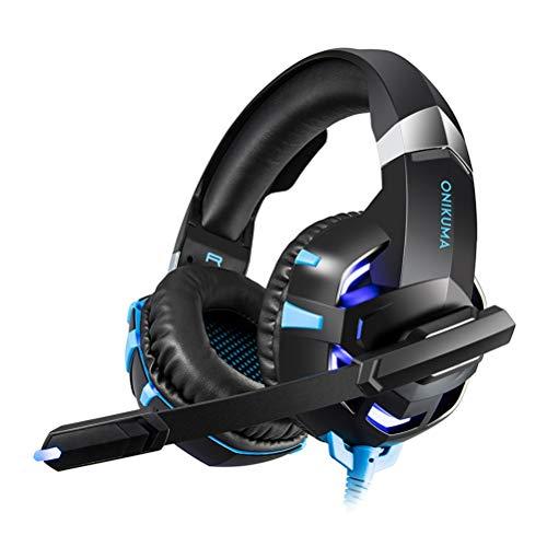 Healifty K2-A Gaming-Headset mit Kabel, Stereo-Spielkopfhörer mit kristallklarem Klang, LED-Lichter, Rauschunterdrückung, Gaming-Kopfhörer mit Mikrofon für PS4, Xbox, Laptop, Computer, Handy (blau)