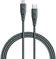 RAVPower Nylon Braided Type-C to Lightning Cable, iPhone Cable Fast Charge Power Delivery & Data, iPhone S